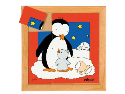 Animals puzzles - Mother and child - penguin (12 pieces)