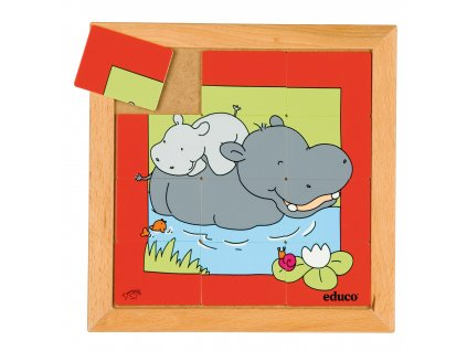 Animals puzzles - Mother and child - hippo (12 pieces)