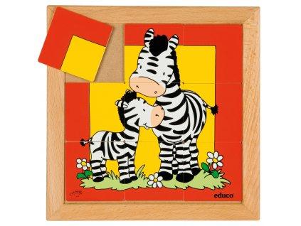 Puzzle zvířat - Matka a mládě - zebra (9 dílků)