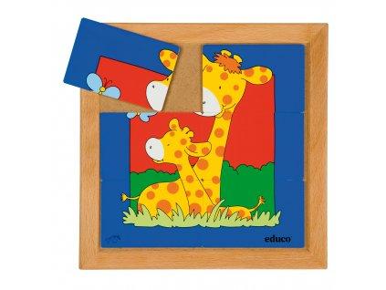 Puzzle zvířat - Matka a mládě - žirafa (6 dílků)