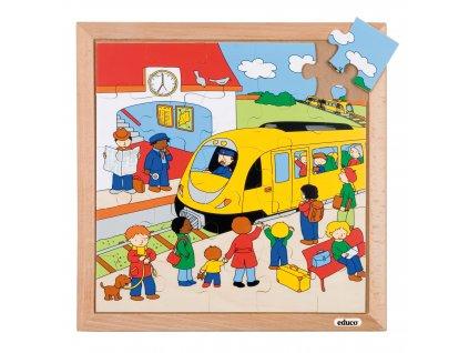 Puzzle Doprava - vlaková zastávka (25 dílků)