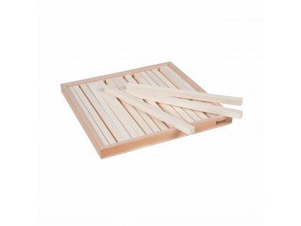 Krabička s 19 dřevěnými hranoly 1x1x20 cm