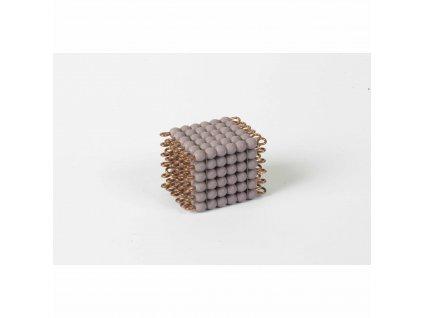 Korálková krychle, skleněné korálky - 6x6x6 (fialová)