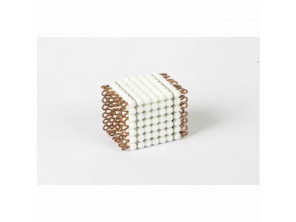 Korálková krychle, skleněné korálky - 7x7x7 (bílá)