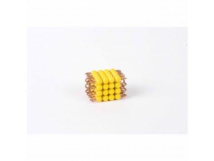 Korálková krychle, umělé korálky - 4x4x4 (žlutá)