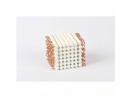 Korálková krychle, umělé korálky - 7x7x7 (bílá)