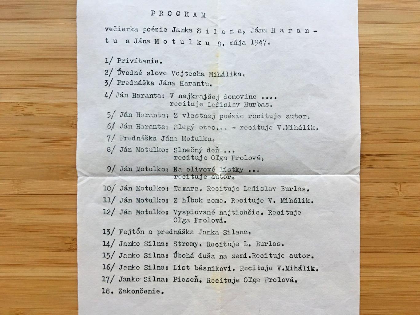 Večierok poézie - 8. máj 1947