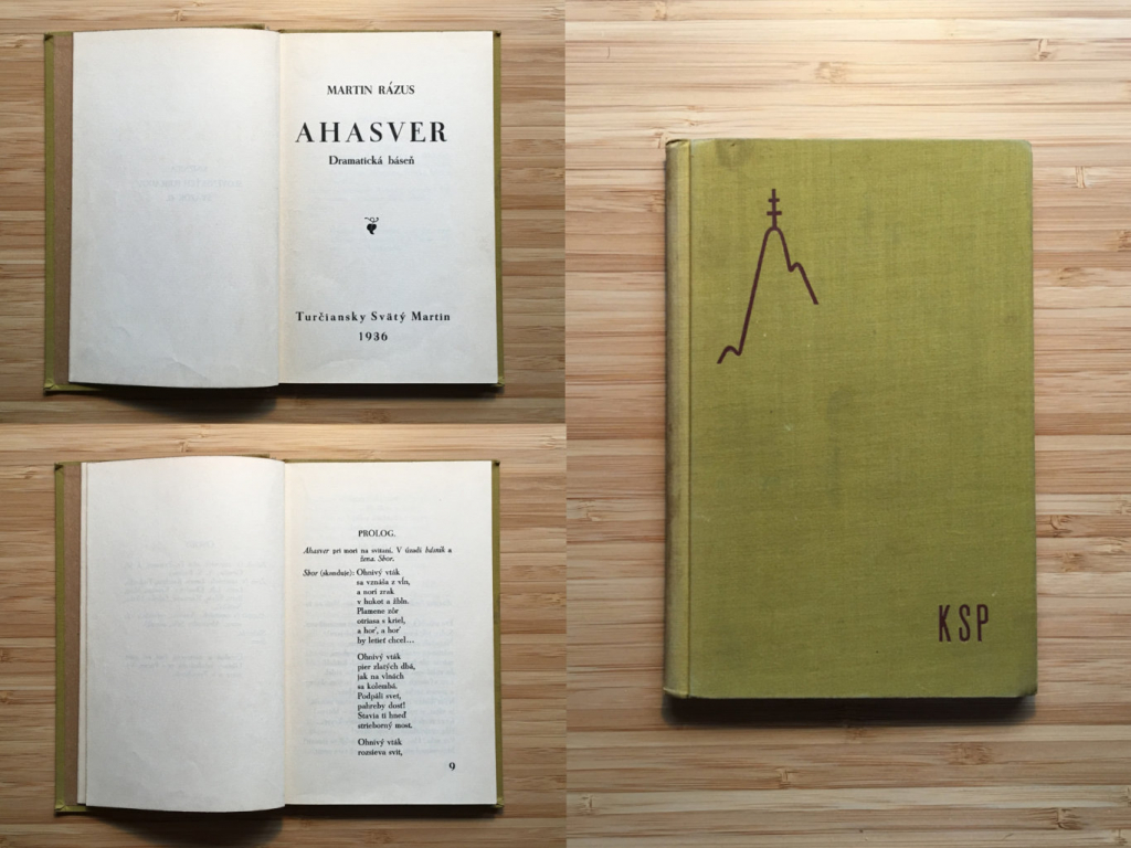 c21dc0890 Antikvariát Staroknih │ Martin Rázus - Ahasver (1936)