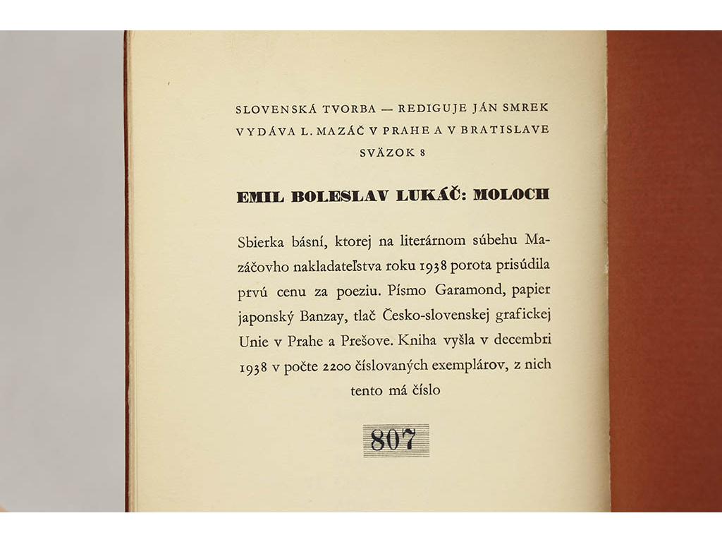 b0de90c59 Antikvariát Staroknih │ Emil Boleslav Lukáč - Moloch (1938)