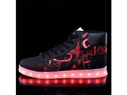 Svítící LED boty - Art Red  7 barev a 3 FLASH režimy + Micro USB kabel