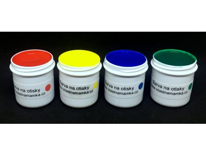 Šablona na otisky a prstové barvy (varianty 1. rok, varianta žlutá otiskovací barva, rámeček bílý rámeček)
