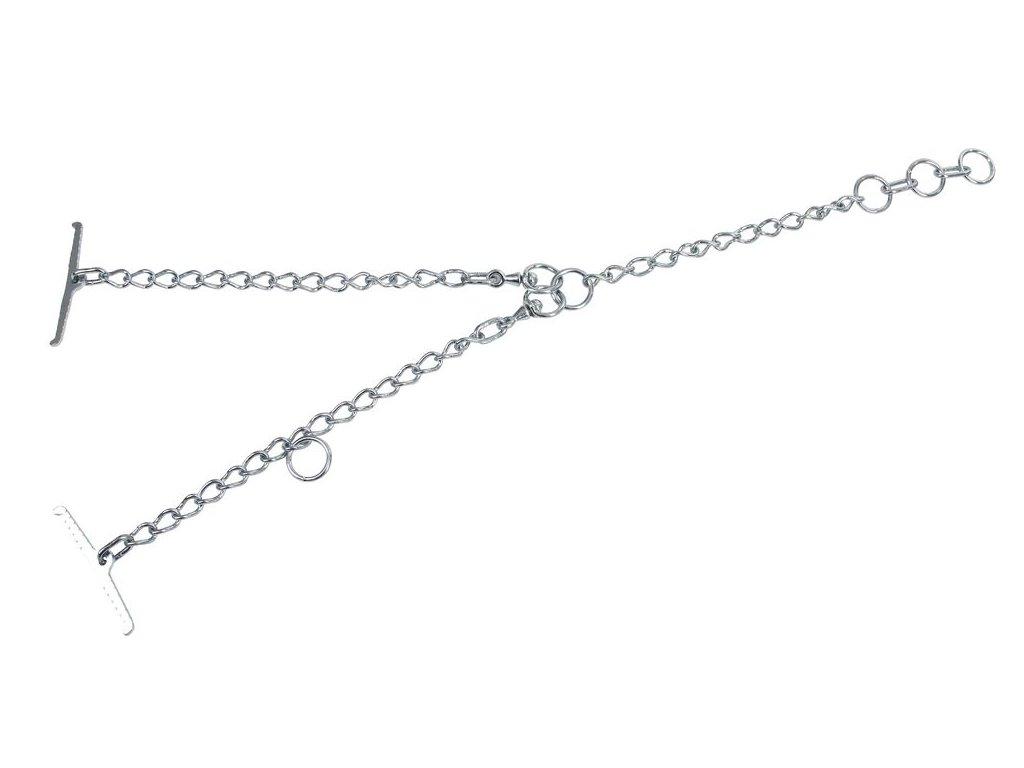 Tyrolský řetěz pro skot, jednoduchý, článek 4mm, uvazovací část 40 cm, obvod krku 80cm