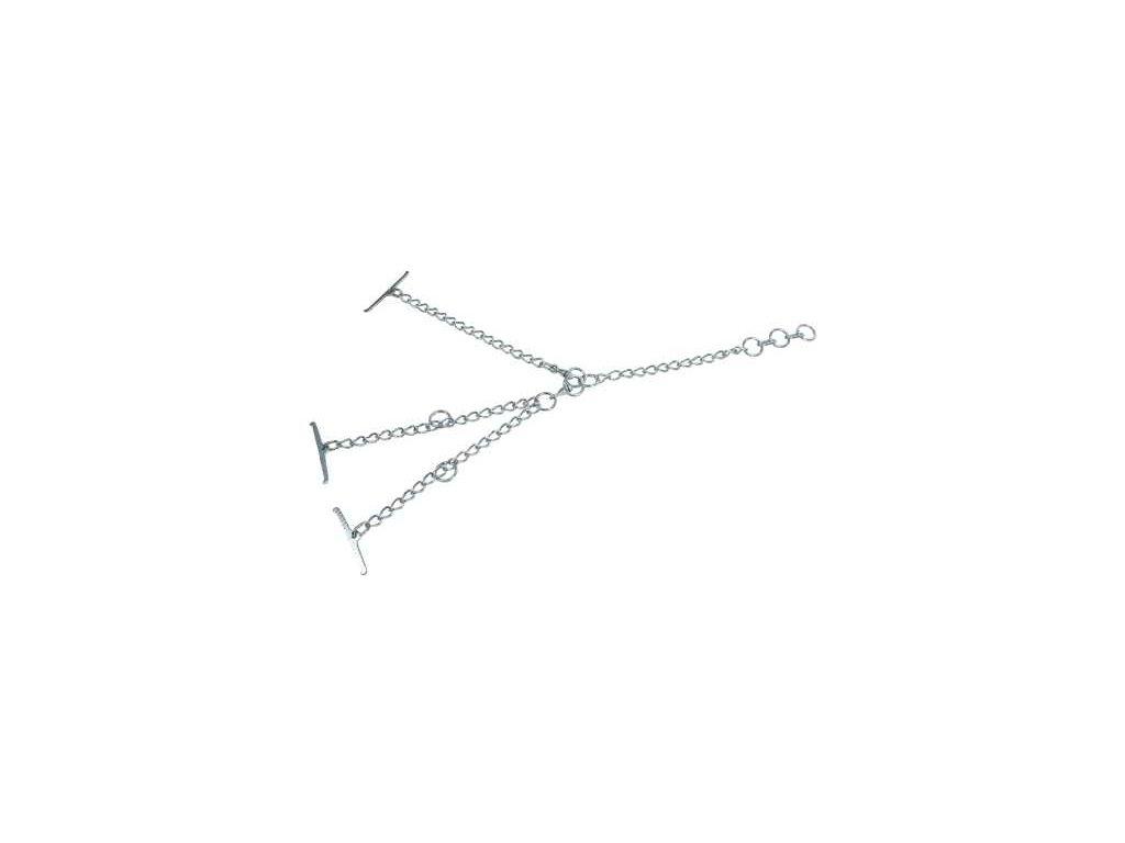 Tyrolský řetěz pro skot, dvojitý, článek 4mm, uvazovací část 40 cm, obvod krku 80cm