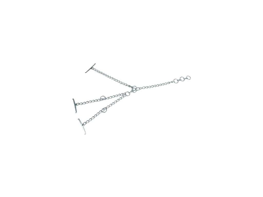 Tyrolský řetěz pro skot, dvojitý, článek 5mm, uvazovací část 45 cm, obvod krku 100cm