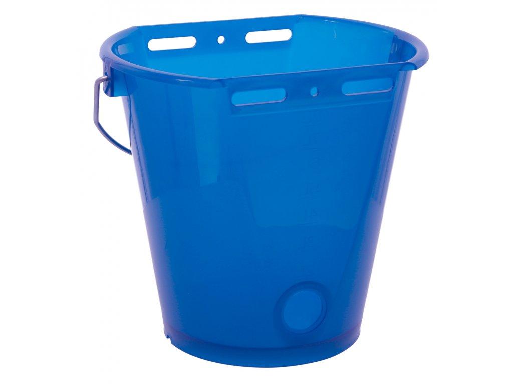 Napájecí kbelík pro telata, plast, průhledný modrý, 8l