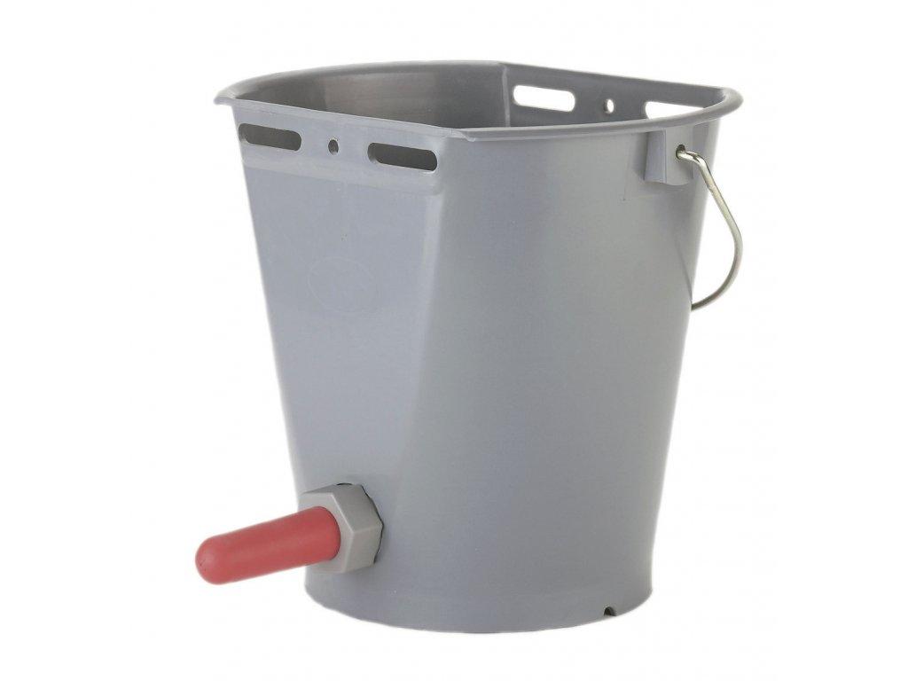 Kyblík napájecí pro telata, plast, s kuličkovým ventilem a červeným dudlíkem