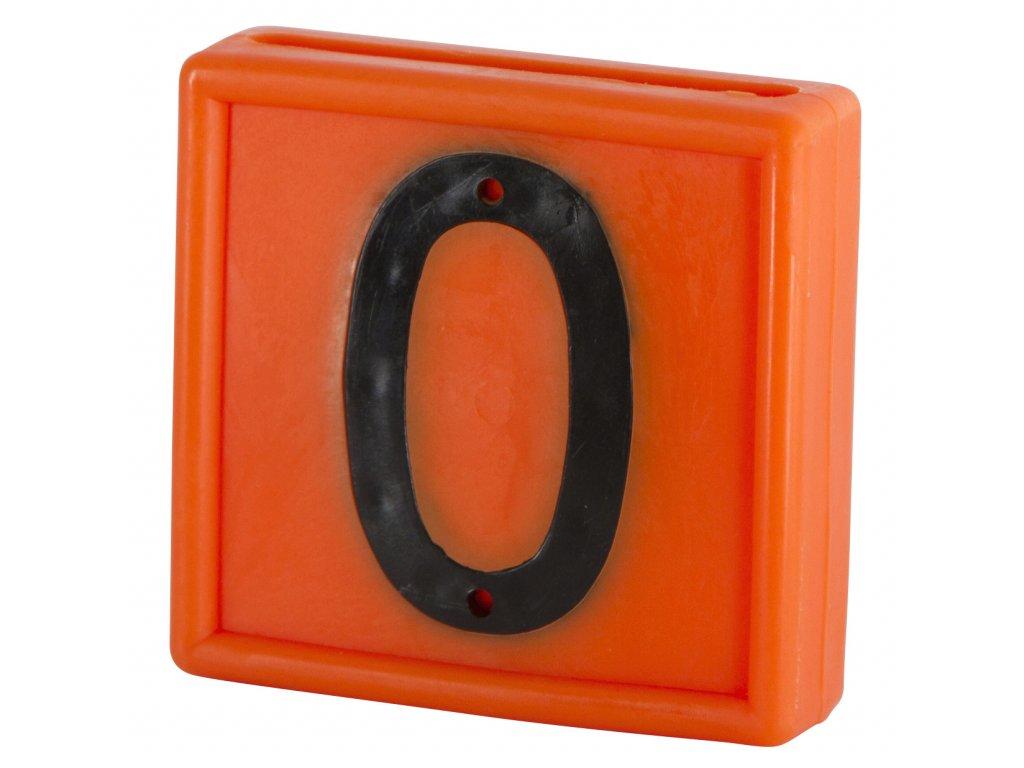 """Plastové číslo""""0"""" na obojek, jednomístné, oranž."""