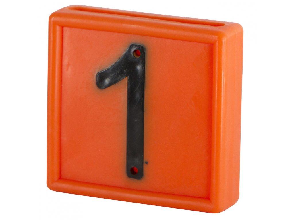 """Plastové číslo """"1"""" na obojek, jednomístné, oranž."""