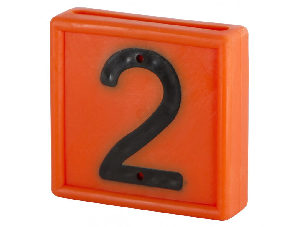 """Plastové číslo""""2"""" na obojek, jednomístné, oranž."""