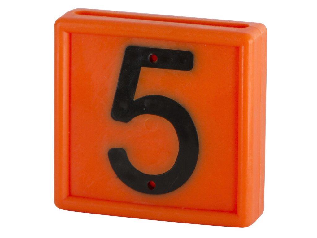 """Plastové číslo""""5"""" na obojek, jednomístné, oranž."""
