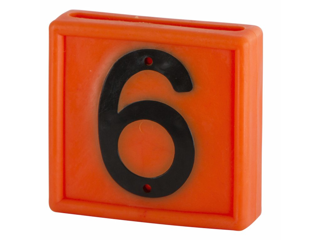 """Plastové číslo""""6"""" na obojek, jednomístné, oranž."""