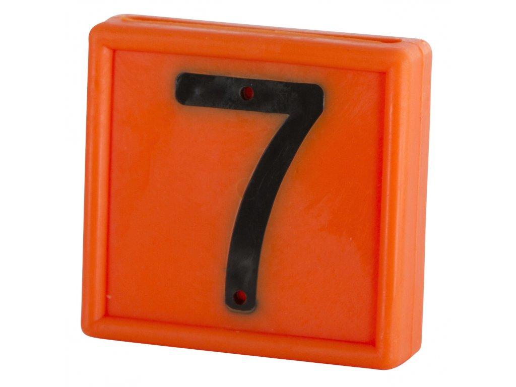 """Plastové číslo""""7"""" na obojek, jednomístné, oranž."""