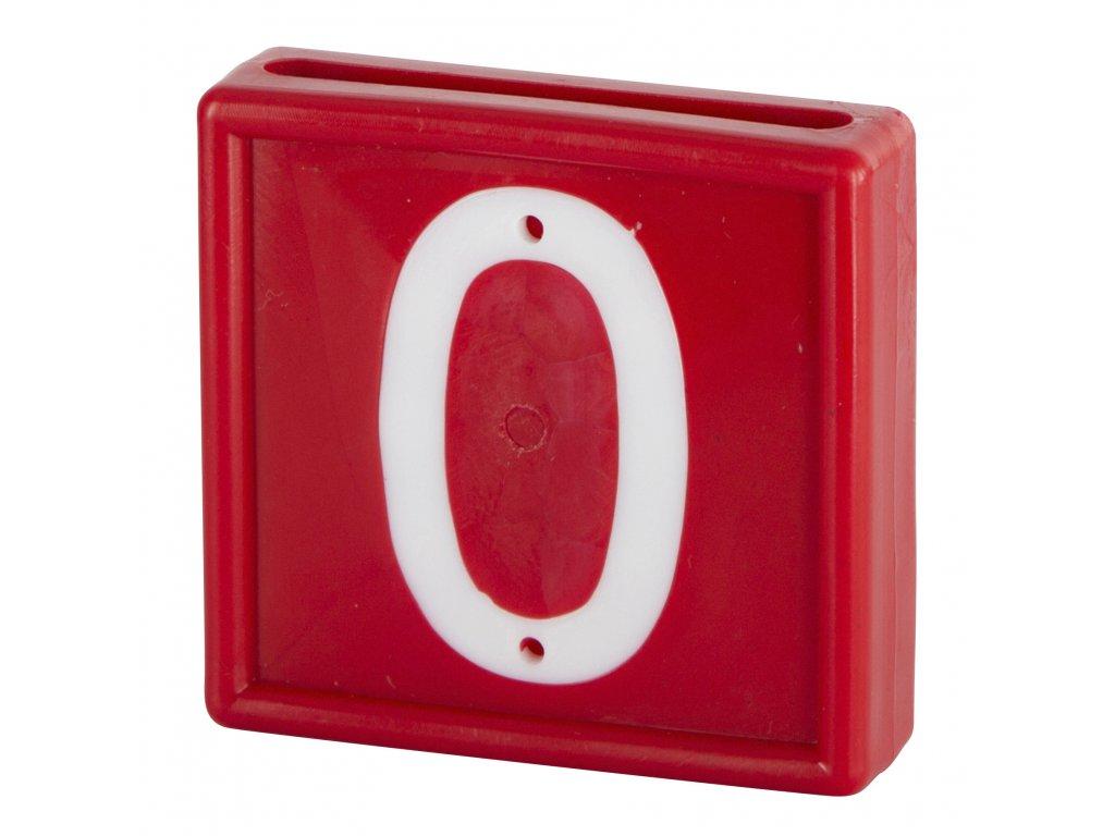 Plastové číslo 0 na obojek, jednomístné, červené