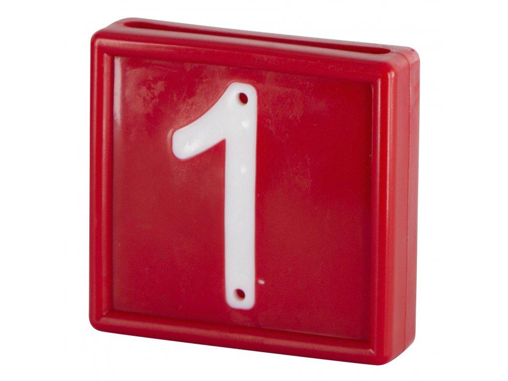 Plastové číslo 1 na obojek, jednomístné, červené