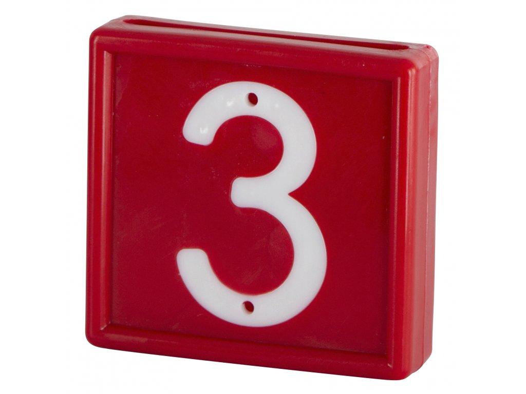 Plastové číslo 3 na obojek, jednomístné, červené