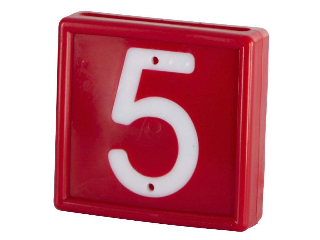 Plastové číslo 5 na obojek, jednomístné, červené