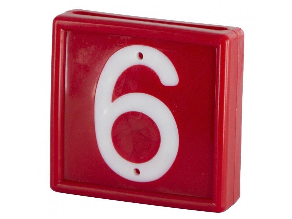 Plastové číslo 6/9 na obojek, jednomístné, červené