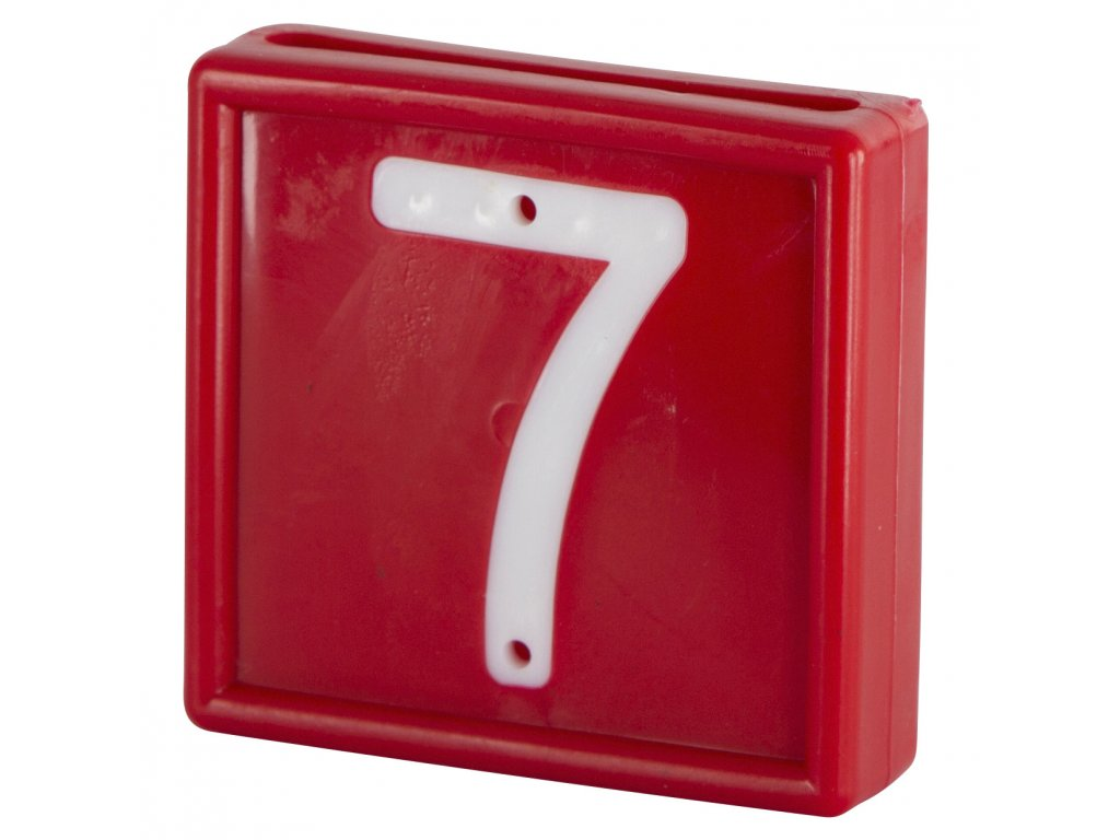 Plastové číslo 7 na obojek, jednomístné, červené