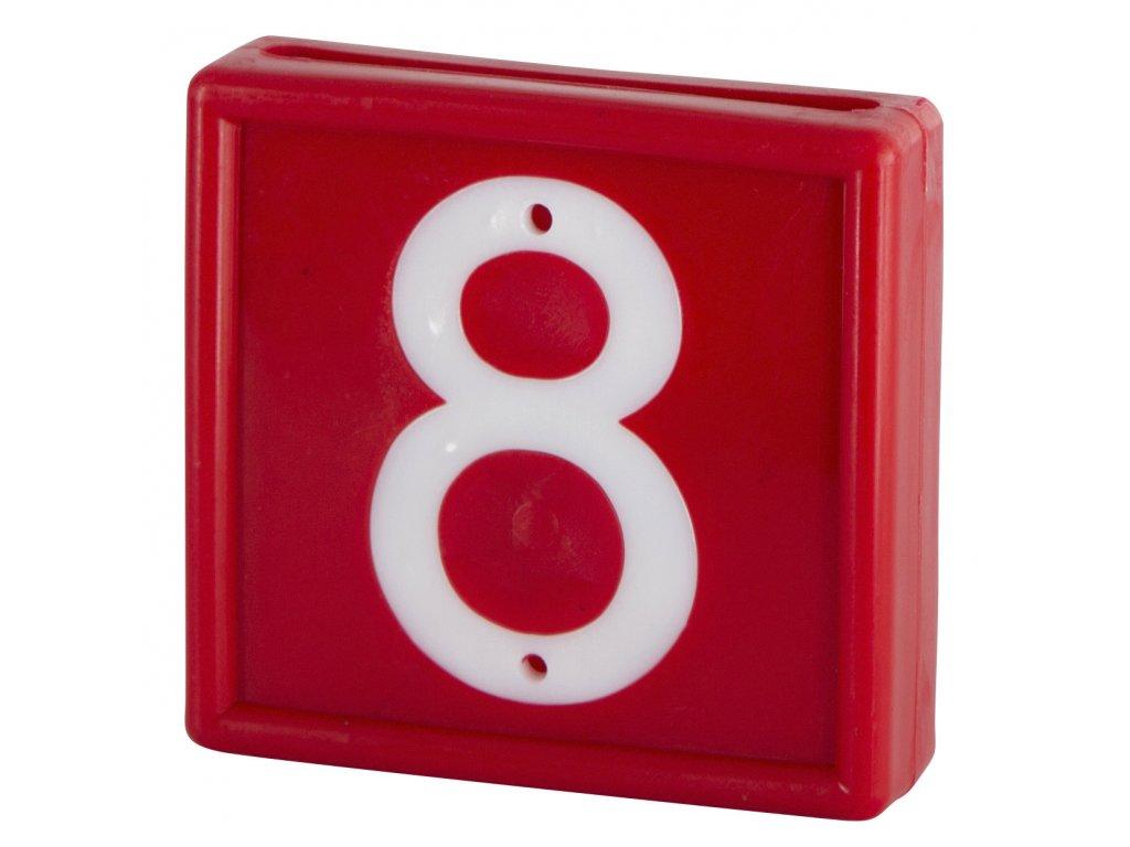 Plastové číslo 8 na obojek, jednomístné, červené