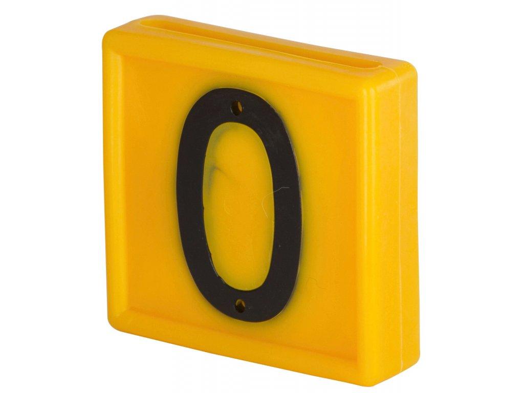 Plastové číslo 0 na obojek, jednomístné,žluté