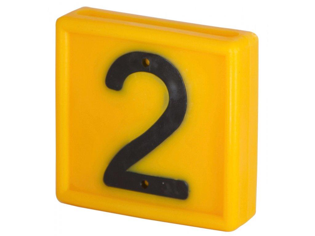 Plastové číslo 2 na obojek, jednomístné,žluté