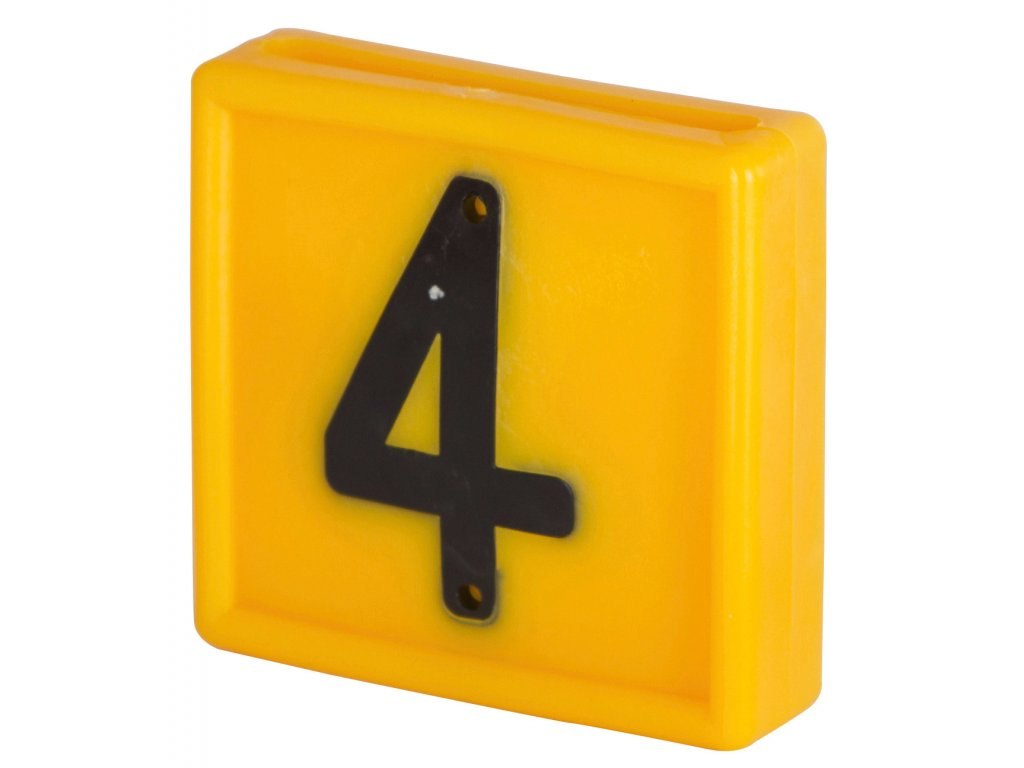 Plastové číslo 4 na obojek, jednomístné,žluté