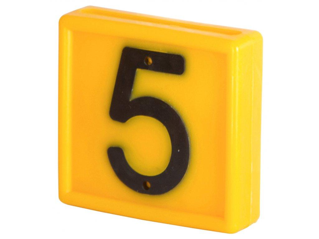 Plastové číslo 5 na obojek, jednomístné,žluté