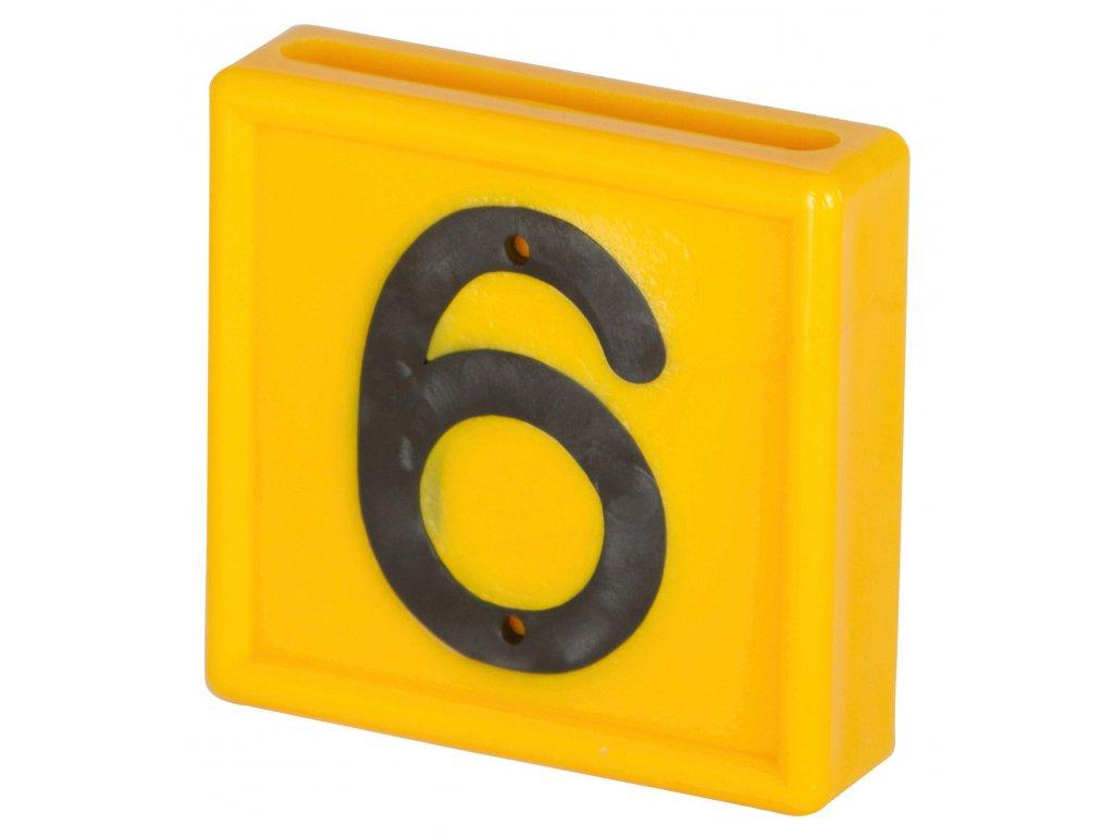 Plastové číslo 6/9 na obojek, jednomístné,žluté