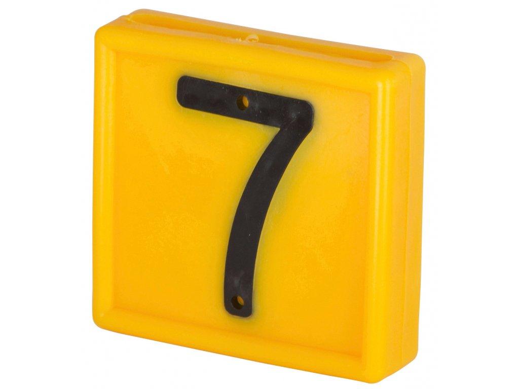 Plastové číslo 7 na obojek, jednomístné,žluté