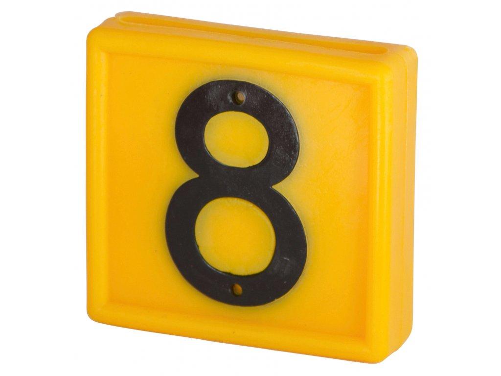Plastové číslo 8 na obojek, jednomístné,žluté