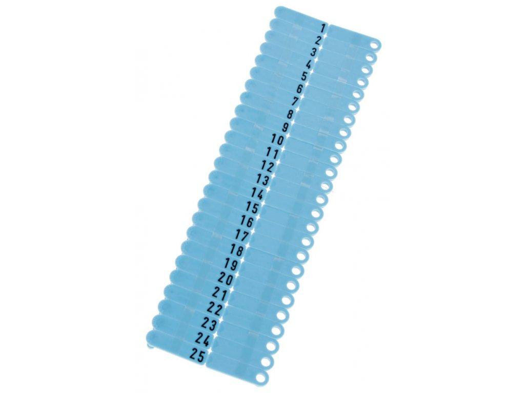 Ušní známky Twintag s popisem 50 ks, modré, č. 1-50