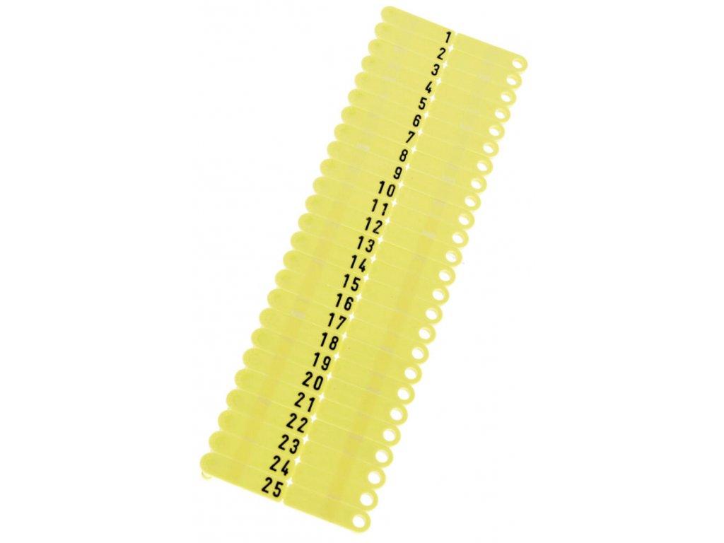 Ušní známky Twintag s popisem 50 ks, žluté, č. 151-200