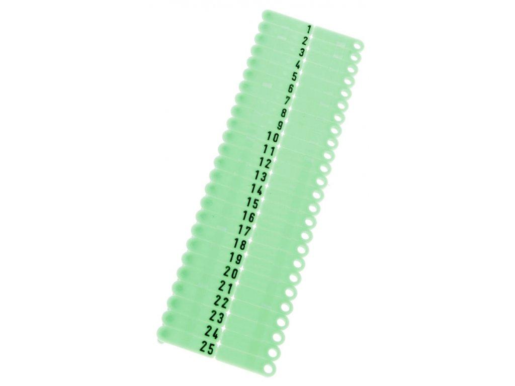 Ušní známky Twintag s popisem 50 ks, zelené, č. 301-350