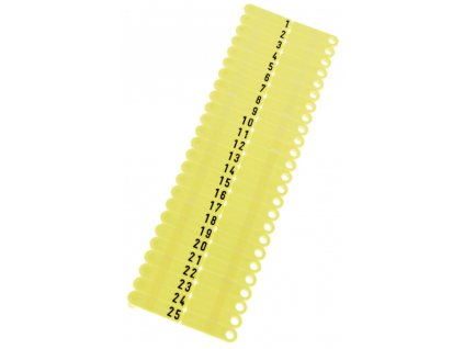Ušní známky Twintag s popisem 50 ks, žluté, č. 51-100