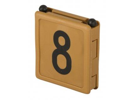 Číslo na krční řemen DUO, číslo 8, hnědá, balení po 6 ks