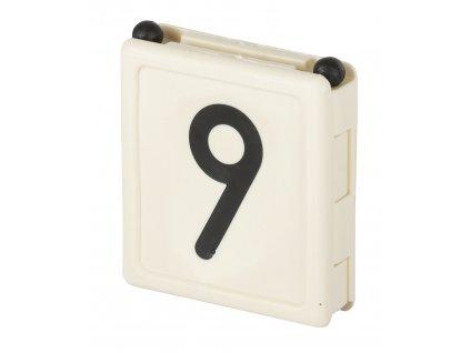 Číslo na krční řemen DUO, číslo 9, bílá, balení po 6 ks