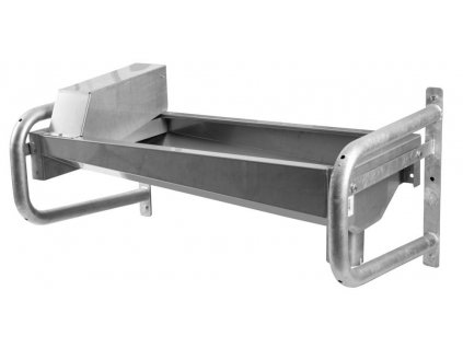 Vyhřívaná žlabová napáječka z nerez oceli, s konzolou pro připevnění na zeď, délka 100cm, objem 50l
