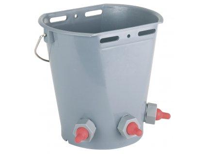 Kyblík napájecí pro jehňata s 3 krátkými, červenými dudlíky, vč. kuličkových ventilů