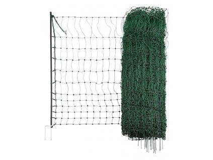 Ohradníková síť pro drubež PoultryNet zelená, elektrifikovatelná, 15m, 112cm, dvojitý hrot