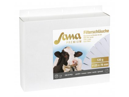 Filtrační rukáv na mléko Sana Premium 120g, šitý, 1125mm, 78mm, 100ks